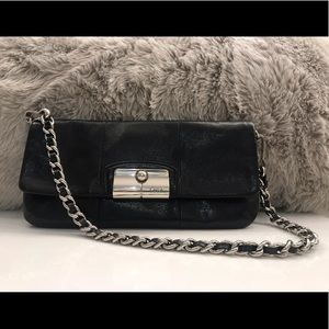 COACH - Black Leather Clutch w/ Removable Chain